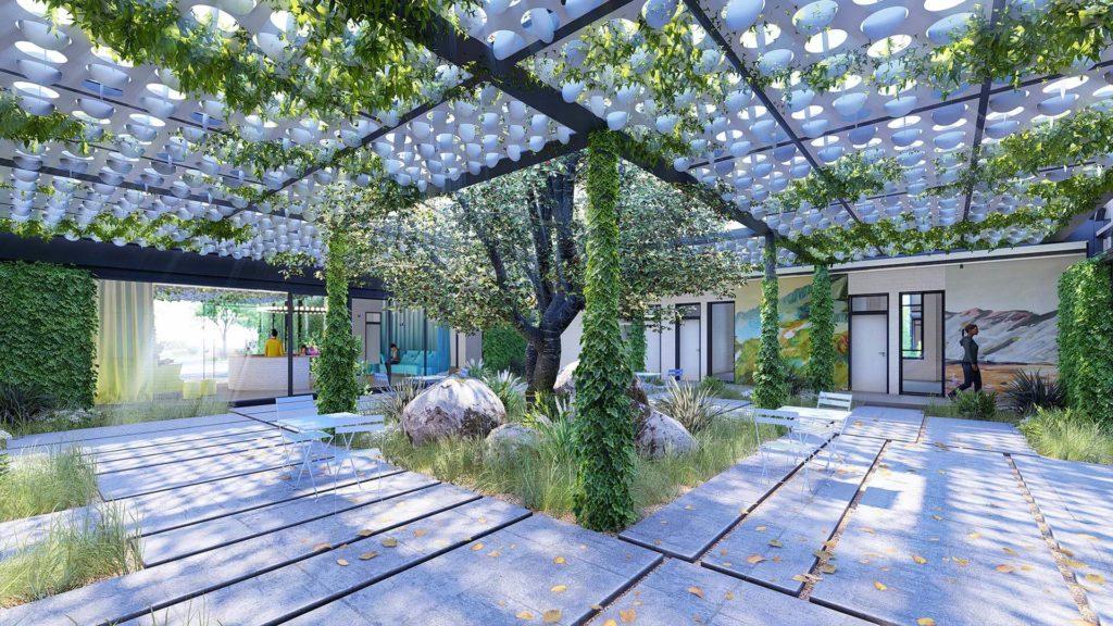 Admin Building Courtyard Lasercut Space